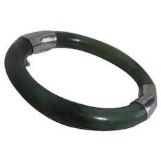 Green Jade Bangle Bracelet Hinged Silver Tone Clasp