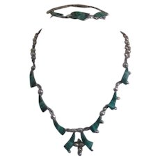 Mexican 950 Sterling Silver Malachite Inlay Necklace and Bracelet Set