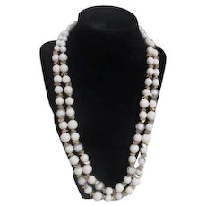 White Bead with Goldtone Spacers and Crystal Encased Beads Double Strand Necklace