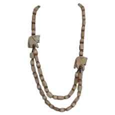 Double Strand Necklace with Elephants