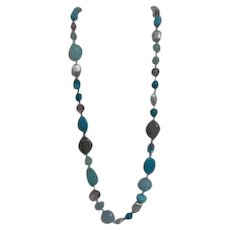 Long Blue Beads and Silvertone Chain Necklace
