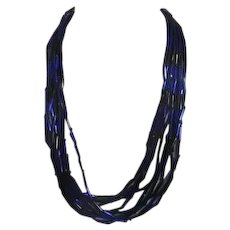 Cobalt and Royal Blue Glass Beaded Necklace with 10 strands