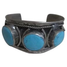Sterling Silver Band Style Bracelet with 3 Mounted Turquoise