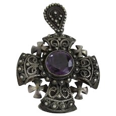 Silver Pendant Crusader's Cross Amethyst Center