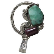 Sterling Silver Pendant SouthWestern Style with Agate and Smithsonite