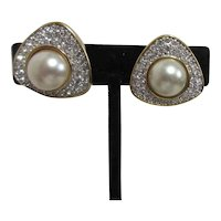 Swarovski Clip-on Earrings with Faux Pearl