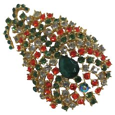 Pago Multi-colored Rhinestone Brooch Pineapple Shape