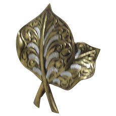 Damascene Double Leaf Brooch from Spain