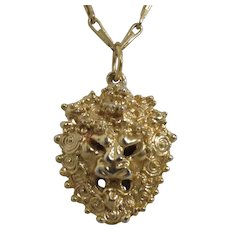 Goldtone Lion Head Mask Pendant on Chain