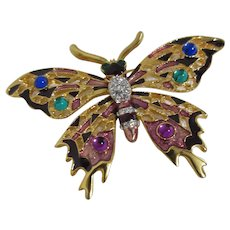 Gold Plated Butterfly Brooch with Rhinestones, Enamel, Glass Ornamentation Unsigned
