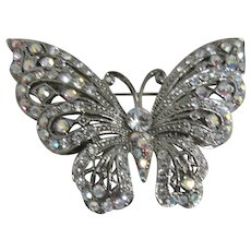 Crystal and Rhinestone Butterfly Brooch