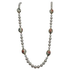 Pearl Necklace with Hand Painted Beads, Gold Bead Spacers