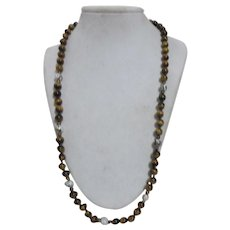 Tiger's Eye Beads with Cloisonne Beads Necklace Hand Knotted