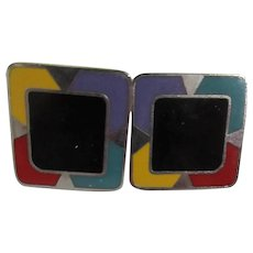 Laurel Burch Square Modern Pierced Earrings