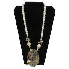 Faux Pearls with Mother of Pearl Pendant Necklace