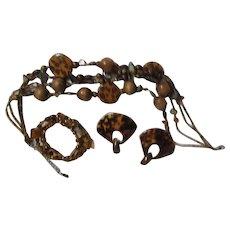 Three Piece Jewelry Set with Faux Leopard Pattern Necklace, Earrings, Bracelet
