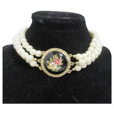 Three Strand Faux Pearl Necklace with Center Medallion