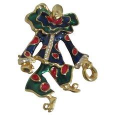 Articulated Clown Enamel  with Rhinestones Brooch