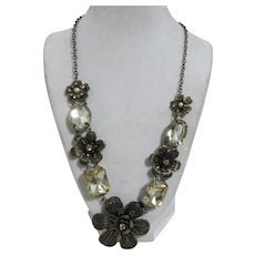 Unsigned Brass Flowers with Rhinestones Necklace