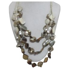 3 Strand Mother of Pearl Necklace with Silver Toned Spacers and Seed Beads