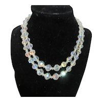 Unsigned Double Strand of Crystal Beads with Crystal Spacers and Rhinestone Clasp