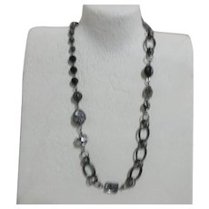 Black Chain with Beads, Rhinestones, Multiple Sizes Necklace