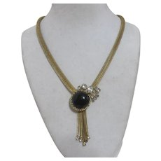 Unsigned Goldtone Mesh Necklace with Black Cabochon and Rhinestone Pendant