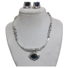 Avon Silvertoned with Dark Blue Reflective Cabochon Set of Necklace and Pierced Earrings
