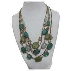 5 Strand Multiple Design Green and Goldtone Chain Necklace
