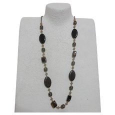 Avon Long Necklace of Stones, Beads, Chain in Autumn Colors