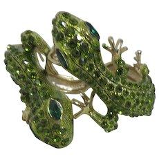 Unsigned Goldtone and Green Rhinestones Double Salamander/Lizard/Gecko Bracelet