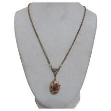 Goldtone Locket on Chain Necklace Rose on Lid