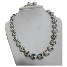 Cloisonne Bead Necklace with Matching Clip On Earrings