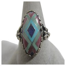 Sterling Silver Ring with Inlaid Gemstones Signed