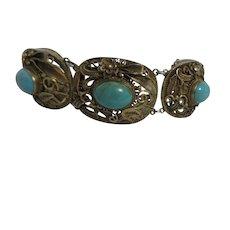 Turquoise Cabochon Gilt Silver Filigree Bracelet
