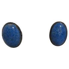 Elta Endito Native American Navajo Earrings Sterling Silver Blue Cabochon