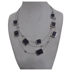 """Lightweight 3 Strand Silver Tone and Purple Necklace from """"NY"""""""