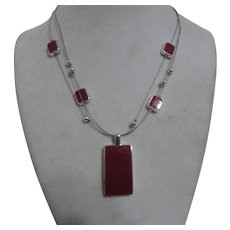 """Lightweight Silvertone and Red 3 Strand Necklace from """"NY"""""""