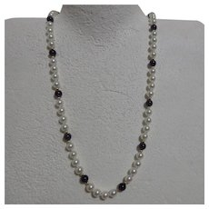 Pearl and Amethyst Single Strand Necklace with Gold Accent Beads