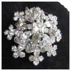 Unsigned 3-D Rhinestone Brooch Snowflake Design