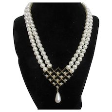 Unsigned 2 Strand Faux Pearl Necklace with Black Enamel and Rhinestone Pendant