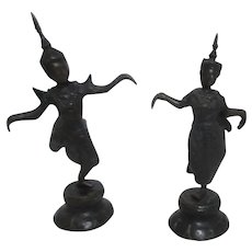 Pair of Small Metal Siamese Temple Dancers