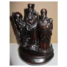 Vintage Lacquer Statue of Three Men