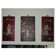 Carved Oriental Wood Wall Plaques 3 Pieces