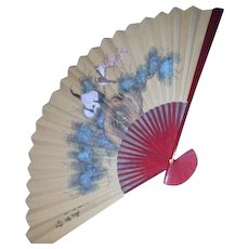 Large Asian Decorative Fan with Birds