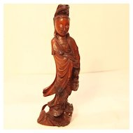 Vintage Wood Carving Quan Yin with Ruyi and Fish at Her Feet