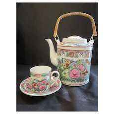 Vintage Tea Pot with Cup and Saucer in Rose Familia Colors