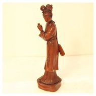 Vintage Wood Carving of Woman with a Fan
