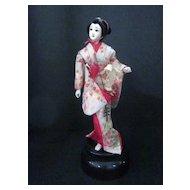 Vintage Japanese Geisha Doll Atop Music Stand