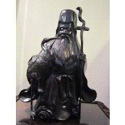 VIntage Bronze Cast  Jorojin Japanese God of Longevity